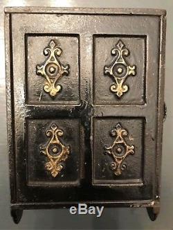 1887 Cast Iron Security Safe Deposit Floor Safe Combination Lock Toy Bank