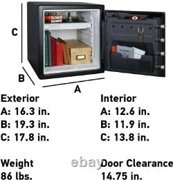 1.23 cu ft. Fireproof/Waterproof Safe with Dial Combination, Secondary Locking Key