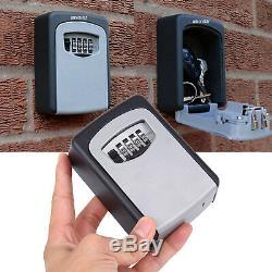 4 Digit Combination Key Lock Box Wall Mount Safe Security Storage Case Aluminum