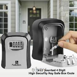 4 Digit Wall Mounted Key Safe Box Outdoor High Security Code Lock-Storage UK