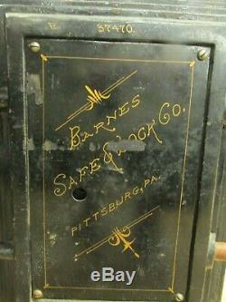 ANTIQUE Barnes Safe & Lock Co Pittsburgh Philadelphia 1800's Fire Safe with Combo