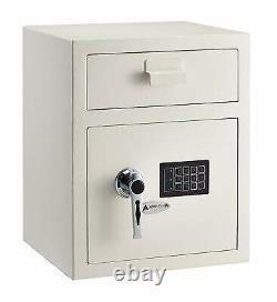 AdirOffice White Steel Safety Deposit Storage Box Digital Lock Front Load Safe