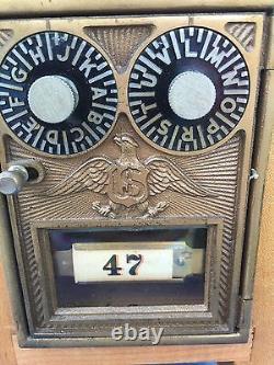 Antique US POSTAL LOCK BOX PIGGY BANK Combination Mechanical Handcrafted SAFE