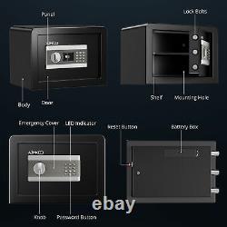Azmkoo M Size Safe Box 0.77 Electronic Digital Lock Black Home Safety Security