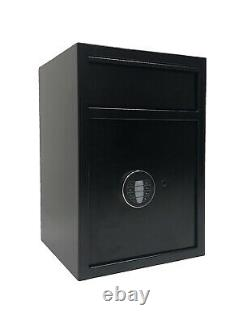 Cash Drop Depository Safe Box Electronic Lock Back Up Key