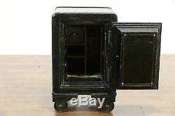 Combination Lock Antique Iron Safe or Chairside Table, Signed Victor #35199