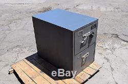 Diebold-2 Drawer-File-Filing-Cabinet-Locking-Safe Sargent Greenleaf + Combo S&G