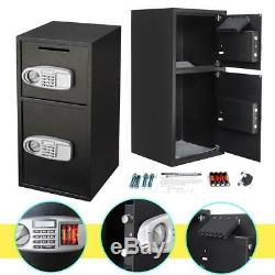 Double Digital Combination Lock Home Security Depository Cash Money Safe Box