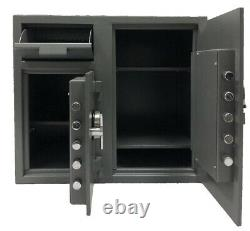 Double Door Cash Depository Drop Safe with electronic keypad lock & Back up key