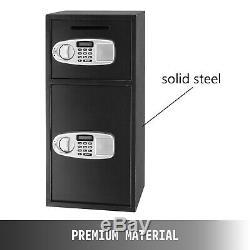 Double Door Digital Safe Depository Drop Box Safes Cash Office Security Lock New