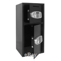 Double Door Office Security Lock Digital Cash Gun Safe Depository Box Black Hot