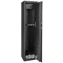 Electronic Digital Storage Cabinet 5 Rifles Gun Security Shotgun Rack Steel Safe