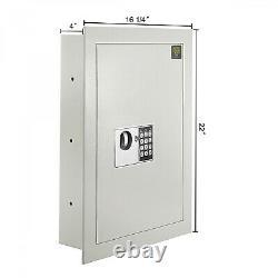 Electronic Wall Safe Lock Security Box Flat Panel Fire Proof For Cash Gun Keys