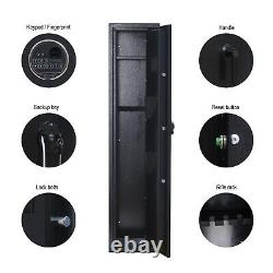 Fingerprint/Keypad Lock Long Gun Safe For 5 Rifle+2 Pistols Gun Security Cabinet