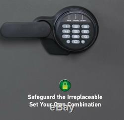 Fire Waterproof Safe 1.23 CU FT Digital Keypad Black Electronic Lock Bolt Down