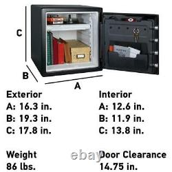 Fireproof Waterproof Safe Dial Lock Key Security Box Home Office 1.23 Cu Ft New