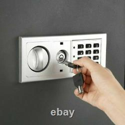Flat Electronic Wall Safe Security Safety Box Lock Valuables Jewelry Home Black