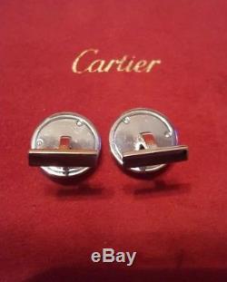Genuine CARTIER Safe Combination Lock 18k White Gold Cufflinks