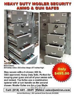 Mosler Gsa 5 Drawer File Cabinet Combination Lock Legal Security Safe Gun  Ammo