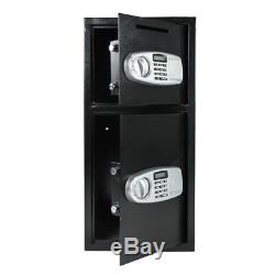 New Double Door Cash Office Security Lock Digital Safe Depository Drop Box US