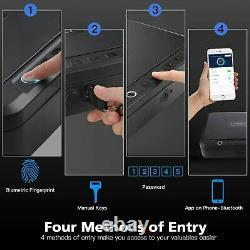 Pistol Gun Safe Box Biometric Fingerprint Combination Key Lock Security Cable