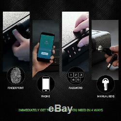 Pistol Gun Safe Box Secure Firearm Handgun Combination Lock Fingerprint Metal