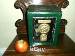 Rare Antique Miniature Tin Safe Money Box/still Bank, Working Combination Lock