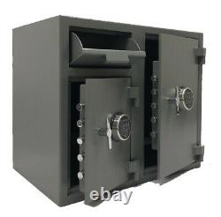 Two Door Cash bag Depository Drop Safe with quick access electronic keypad lock