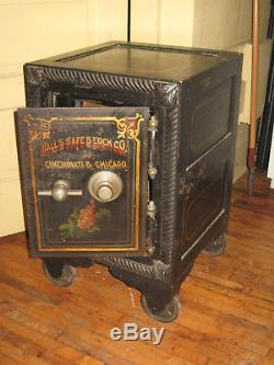 Working 1800's Antique Combination Safe Hall's Safe & Lock Co Home Office Orig